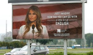 ميلانيا تنجح بإزالة إعلان يسيء للغتها الإنكليزية