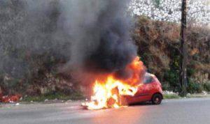 إحتراق سيارة على طريق عام جعيتا – كسروان
