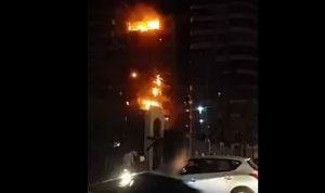 بالفيديو… حريق في حارة حريك