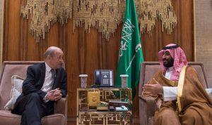 ولي العهد السعودي يجتمع بوزير خارجية فرنسا