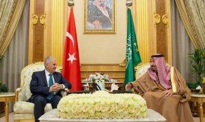 الملك سلمان يستقبل رئيس وزراء تركيا في الرياض