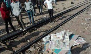 تصادم قطارين في محافظة البحيرة