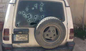 بالصور… إطلاق نار على سيارة لمفرزة بعلبك القضائية