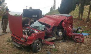 جريح بحادث سير على طريق عام الخيام