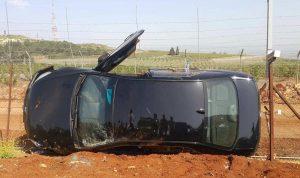 إنقلاب سيارة على طريق العديسة يتسبب باستنفار على الحدود