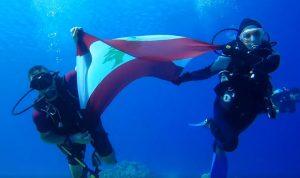 بالفيديو… علما لبنان والجيش في قاع البحر الأحمر