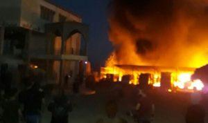 حريق بمخيم للنازحين في بريتال