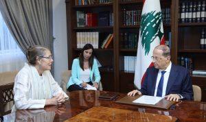 عون: لتساعد المنظمة الدولية لبنان في استكمال ترسيم حدوده
