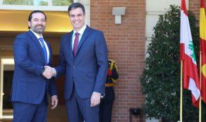 الحريري التقى نظيره الاسباني: اتطلعلتطوير علاقاتنا الثنائية