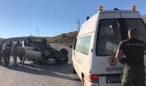 قتيل و 3 جرحى بتدهور سيارة على طريق ترشيش زحلة