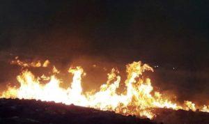 حريق في خراج بلدة بليدا على الحدود اللبنانية الفلسطينية
