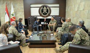 قائد الجيش بحث مع وفد أميركي علاقات التعاون بين الجيشين