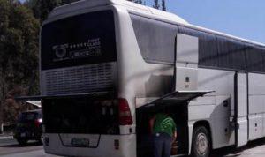 حريق داخل حافلة لنقل الركاب في كفرحزير