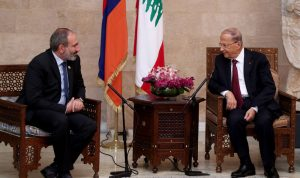 اتفاق بين عونورئيس وزراء أرمينياعلى تعزيز العلاقات الثنائية