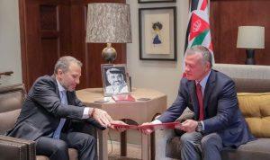 باسيل: سكك حديد ومعابر وزراعة مع ملك الأردن