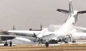 بالفيديو والصور: اصطدام طائرتين عسكريتين في مطار الخرطوم