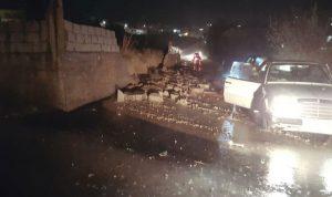 سيول جارفة في بلدة النبي شيت والأضرار كبيرة