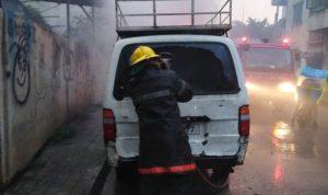 حريق داخل سيارة في الليلكي