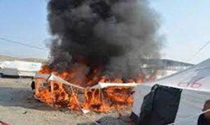 حريق بخيمة للنازحين في مرجعيون