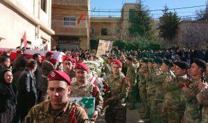ممثل عون والصراف بتشييع الشهيد يزبك: الجيش لن يسكت على استهدافه