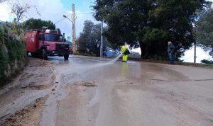 بالصورة: اعادة فتح طريق يحشوش