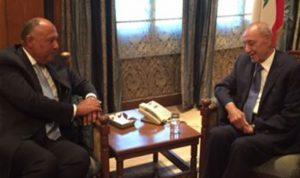 شكري من عين التينة: مصر مهتمة بتجاوز لبنان للتحديات