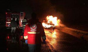 حريق في سيارة على أوتوستراد القلمون