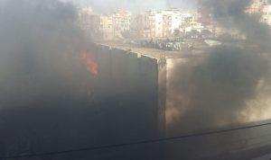 حريق في محلات لبيع قطع السيارات بصيدا