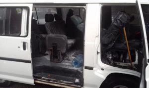 حريق داخل حافلة لنقل الركاب في الشياح