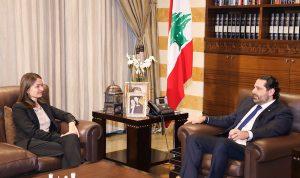 الحريري عرض مع لاسن المستجدات المحلية والإقليمية