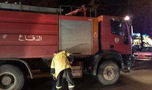 حريق سيارة اثر حادث سير في زحلة