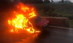 حريق داخل سيارة في سبلين