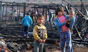 حريق في احدى خيم اللاجئين