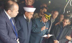 قيادة الجيش وأهالي عكار ودعوا الشهيد بركات علي خشفه