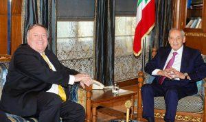 """بري لبومبيو: """"حزب الله"""" هو حزب لبناني موجود في البرلمان والحكومة"""