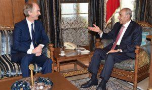 بري لبيدرسون: هناك مصلحة للبنان وسوريا بعودة النازحين في اقرب وقت