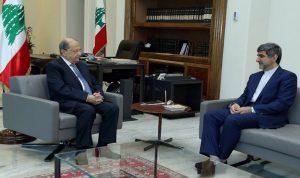 عون عرض الاوضاع مع السفير الايراني