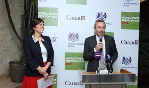 سفيرا بريطانيا وكندا في لبنان يحتفيان باليوم العالمي لحرية الصحافة (بالصور)