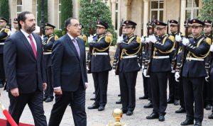 الحريري بحث ونظيره المصري العلاقات بين البلدين