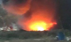 حريق في منطقة خط البترول في وادي خالد
