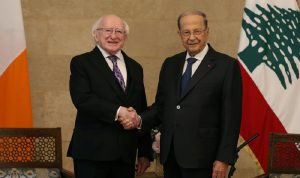 عون التقى رئيس ايرلندا: لبنان لم يعد يستطيع تحمل اعباء النزوج