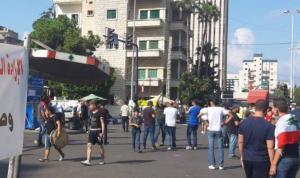 توافد المحتجين الى ساحة ايليا في صيدا