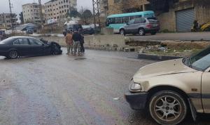 بالصور: حوادث سير وانزلاقات على طريق طريق بحمدون