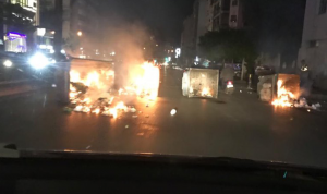 متظاهرون قطعوا طريق كورنيش المزرعة