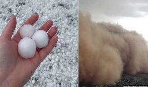 """مشاهد """"نهاية العالم"""".. عواصف رملية وحبات برد ضخمة في أستراليا!"""