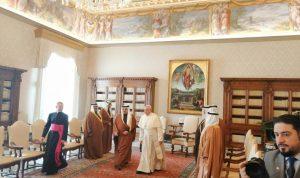 ولي عهد البحرين التقى البابا فرنسيس: ليصبح تعدد الثقافات جزءا من الحل