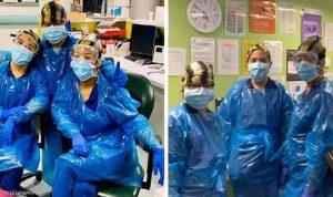 ممرضات ارتدين أكياس قمامة فأصبن بكورونا