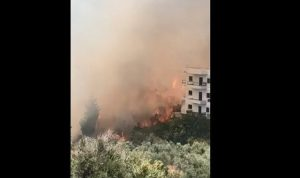 اندلاع حريق في بلدة معركة الجنوبية.. والنيران لامست المنازل (فيديو)