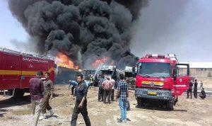 انفجار يهز إيران والنيران تشتعل في مخازن الوقود