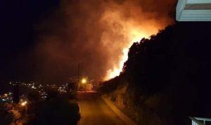 حريق كبير في جبل مشغرة… والنيران تقترب من المنازل